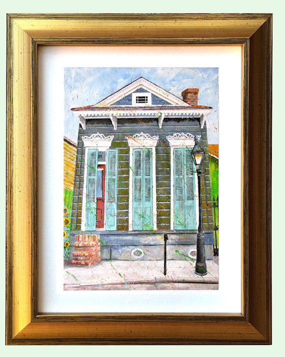 New Orleans Gold Framed Shotgun House Art French Quarter