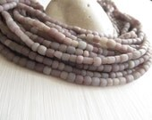 Small seed grey purple bead glass beads, matte rustic, small spacer  barrel tube , New Indo-pacific - 3 to 6mm / 22 inches strand  6A14-19