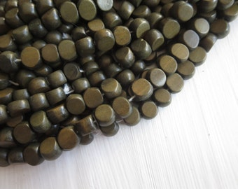 green coin wood beads , painted green  , finished wood ,   flat round  wooden beads,  exotic natural material Indonesian  , 50 beads  5A19-4