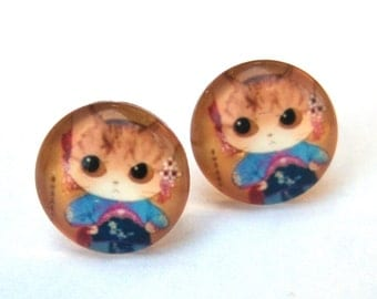 Cat Earrings Glass Cabochon Studs - Kimono Kitty Whimsical Jewelry