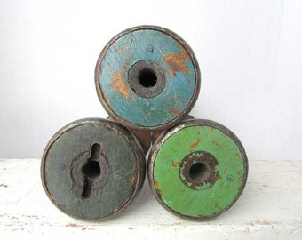 3 Antique Textile Mill Wooden Bobbins, Thread Spools with Old Painted Ends, Green and Blue, Wooden Spools, Sewing, Primitive Collectible