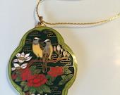 Cloisonne Necklace/Chinese Cloisonne/Enamel/Birds of Paradise/1970s/goldtone/rebellespdx
