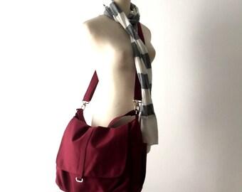 Canvas Messenger Bag Rose Red, Water Resistant Diaper bag , Cross body Bag, Travel bag , Tote Bag ( Big SALE - 25% / Daniel )