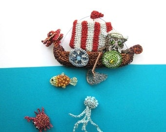 Viking cat in a longboat with three sea creatures brooch set - cat fishing brooch, fish brooches, jellyfish brooch, crab brooch