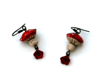 Toadstall and Red Flower Earrings, Toadstall Dangle Earrings