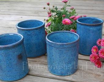 Stoneware Blue Kitchen Caddy Desk Caddy Vase