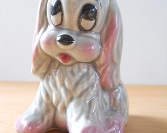 Vintage Puppy Planter • Mid Century Child's Planter • Grey and Pink Dog