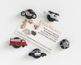 Local Hero Magnets. Police Car, Fire Truck, Sheriff Badge, Air Rescue, Motorcycle, Helicopter. Kids Room, Home Office, Kitchen Decoration.