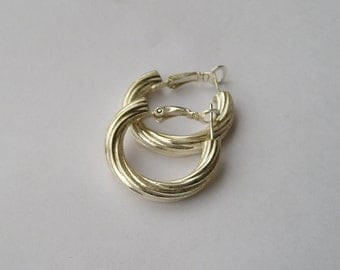 Sterling Silver 925 Ribbed Hoop Style Earrings