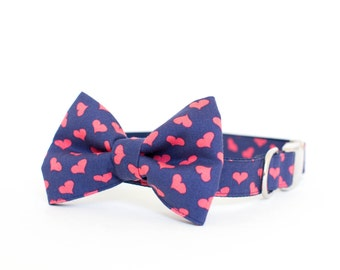 Valentine's Day Bow Tie Dog Collar - Navy and Pink Hearts