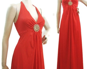 Vintage 70s Dress Polka Dot Red White Algo Halter Maxi Gold Brooch S M