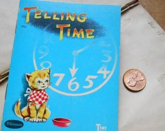 telling time - tiny tales books by whitman  - small childrens book vintage illustrations 1942 1949