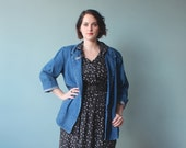 plus size blazer / denim oversize blazer jacket / 1980s / XL XXL