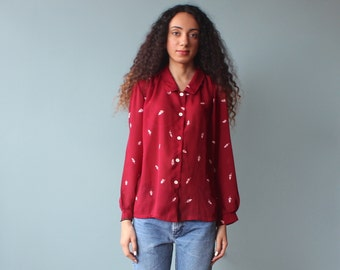 burgundy floral blouse / button up top / 1980s / small -medium
