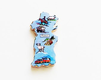 Powys Wales Brooch - Lapel Pin / Unique Wearable History Gift Idea / Upcycled 1960s Wood Puzzle Piece / Timeless Gift Under 20