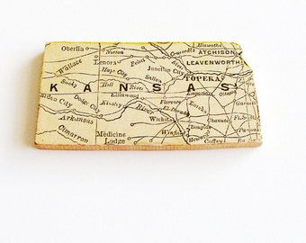 1907 Kansas Brooch - Pin / Unique Wearable History Gift Idea / Upcycled Antique Wood Jewelry / Timeless Gift Under 50
