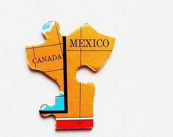 1961 Canada & Mexico Wood Brooch - Pin / Fun Wearable History Gift Idea / Upcycled Vintage Wood Jewelry / Unique Gift Under 25