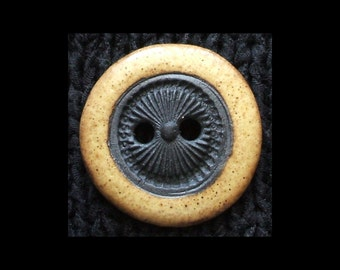 Handmade Ceramic Button: Sun Rays in Black Basaltic Stoneware