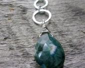 Ocean Jasper Necklace, Green Pendant Necklace, Sterling Silver Necklace, Layering Necklace