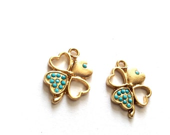 1 pc- Matte Gold Plated Authentic Clover with Turquoise swarovski Charm-22x18mm(007-047)