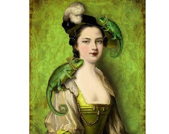 Green Chameleons Print Digital Art Surreal Home Decor Portrait Lady Lizard Unusual