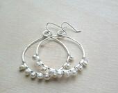 sterling silver hoop earrings, large silver hoops, hammered hoops, sterling hoops, pearl hoops, wire wrapped pearls, large hoops, boho hoops