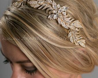 Gold Leaf Hair Comb, Gold Wedding Hair Vine, Gold Grecian Headpiece, Rhinestone Leaf Headpiece - Aurora