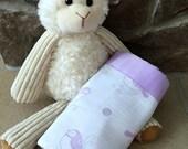 Satin Trim Cotton Swaddle Blanket-Muslin Blanket-Purple and Gray- Purple Birds