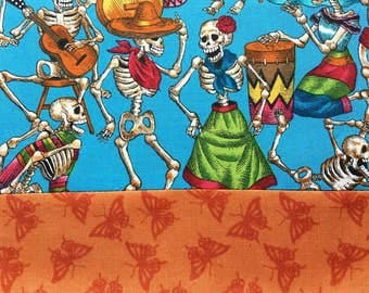 Day of the Dead Tablecloth / Table Runner Día de Los Muertos Turquoise Fiesta Orange Butterflies