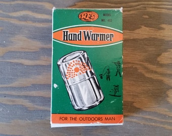 Vintage Chrome Metal Pocket Hand Warmer and Cigarette Lighter for the Outdoors Man In Original Box with Pouch and Instructions..1960's