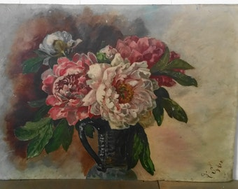 Vintage Floral Oil Painting of Peonies in Jug on Tin Unframed and Signed Y. Sykes