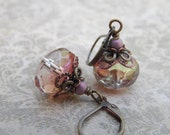 Romantic Spun Sugar Earrings with Fancy Czech Glass Beads and Antiqued Brass