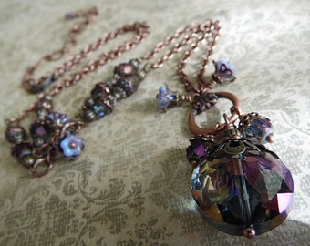Mystic - Amethyst Glass, Antique Copper Chain Necklace and Earring Set