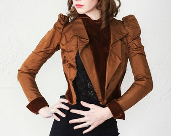SALE- Antique Victorian Jacket . Brown Velvet