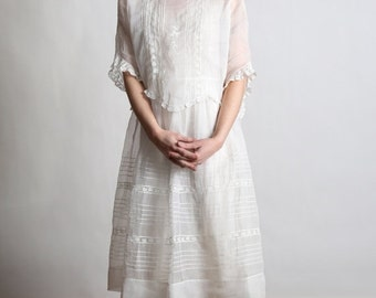 RESERVED 1910s Cotton Dress SMALL