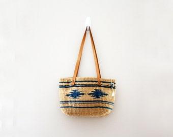 vintage 80s Blue & Natural Southwest Theme Woven Jute Market Tote Bag