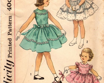 1950s Simplicity 1900 Vintage Sewing Pattern GIrl's Party Dress Size 5