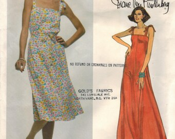 1970s Vogue 1638 Vintage Sewing Pattern Misses Sundress, Evening Gown Size 10 Bust 32-1/2