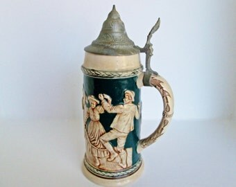 German Ceramic Stein Tankard pewter lid  1 Litre drink glass marked 1926 pub party scene Swiss Belguim Antique Barware decor