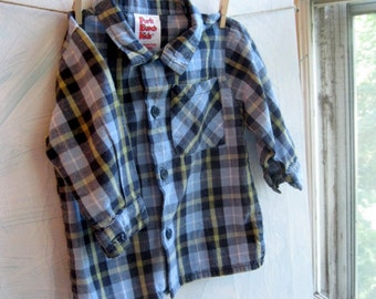 Boys Shirt, Childrens Clothing, Shirt, 12 months, Plaid, by enfantjoli on etsy