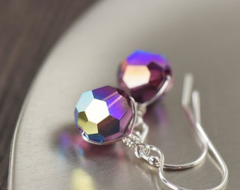 Amethyst earrings Purple earrings Swarovski crystal earrings on sterling silver dangle earrings