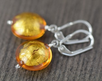 Valentine's Day gift for her November birthstone earrings Citrine earrings made of Yellow Murano glass
