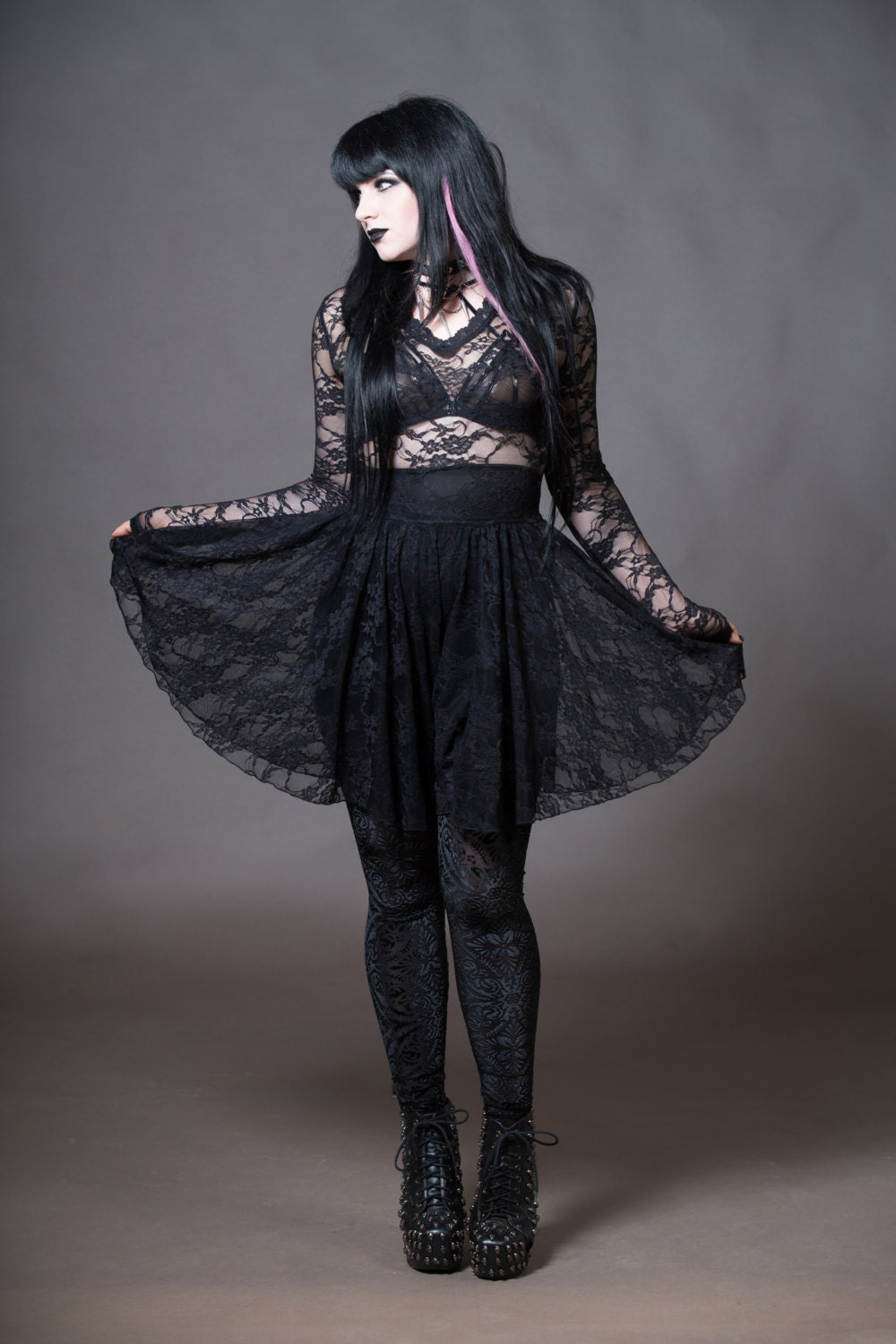 sheer lace dress goth stretchy vneck gothic witchy clothing