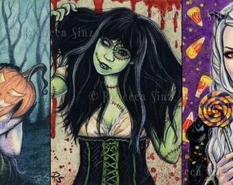 HALLOWEEN 5 x 7 Print Set or Individually Gothic Fantasy Art Pumpkin Jack-o-lantern Frankenstein Candy Victorian Colorful Dark Portraits