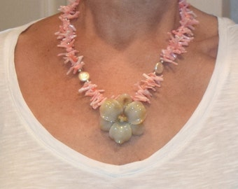 Tropical Flower & Coral Necklace