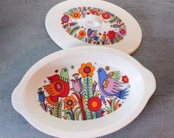 vintage casserole dish - Royal Crown Paradise porcelain ovenware 3696
