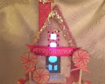 Pink Peppermint Christmas Glitter House Shipping Included