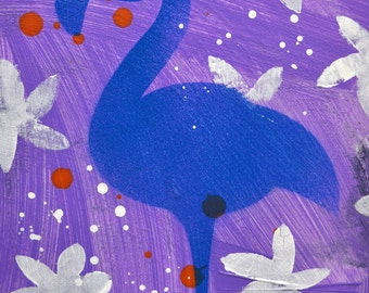 """Blue Star- Original Mixed Media Flamingo Decorative Art, 8"""" x 10"""""""
