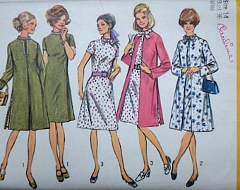 Vintage 70's Simplicity 9157 Sewing Pattern, Misses' Coat and Dress, Retro Mod 1970's Fashion, Size 14, 36 Bust Uncut