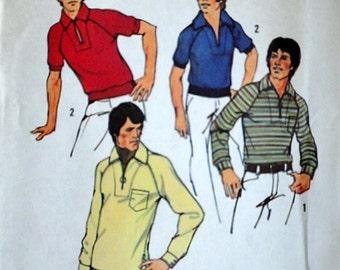 Men's Stretch Knit Shirt, Simplicity 6694 Vintage 70's Sewing Pattern, Size Large, Chest 42-44, Uncut FF, Retro